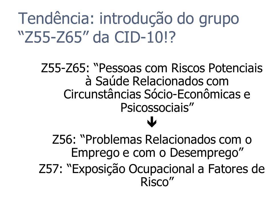 Tendência: introdução do grupo Z55-Z65 da CID-10!