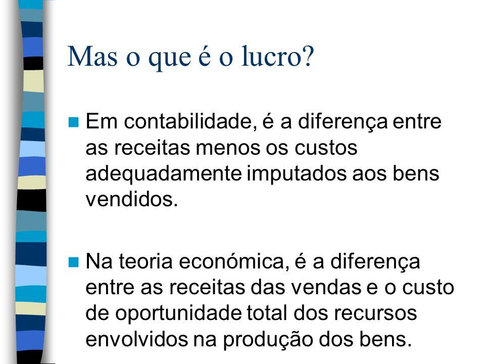Mas o que é o lucro Em contabilidade, é a diferença entre as receitas menos os custos adequadamente imputados aos bens vendidos.