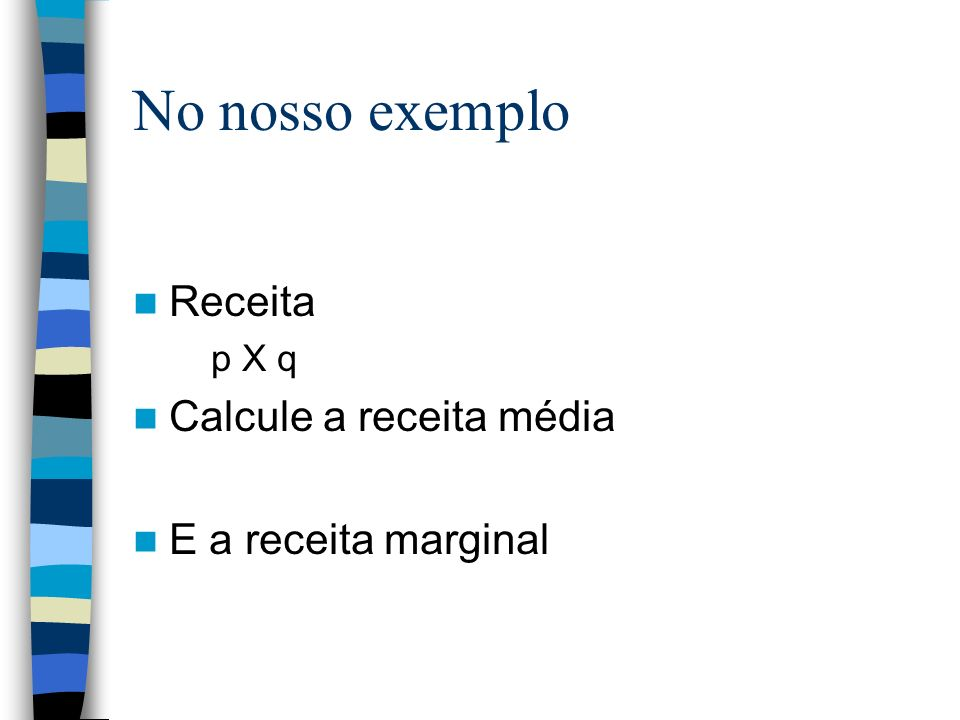 No nosso exemplo Receita Calcule a receita média E a receita marginal