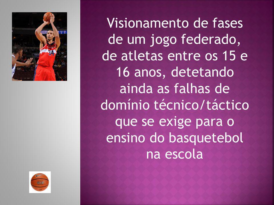 Visionamento de fases de um jogo federado, de atletas entre os 15 e 16 anos, detetando ainda as falhas de domínio técnico/táctico que se exige para o ensino do basquetebol na escola