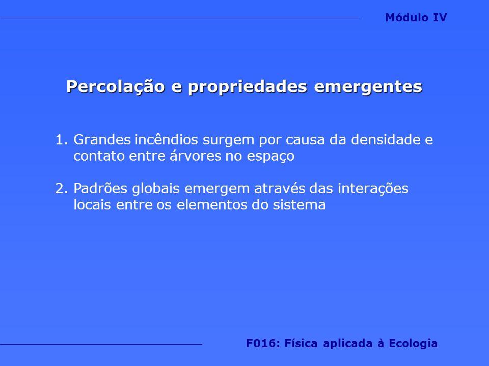 Percolação e propriedades emergentes F016: Física aplicada à Ecologia