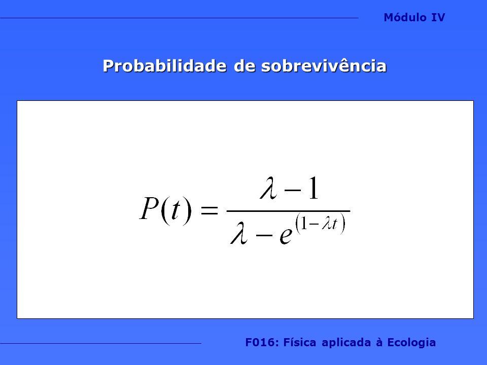 Probabilidade de sobrevivência F016: Física aplicada à Ecologia