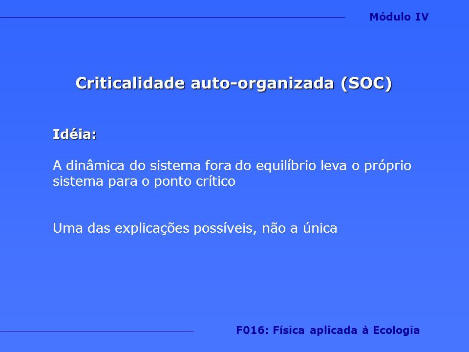Criticalidade auto-organizada (SOC) F016: Física aplicada à Ecologia