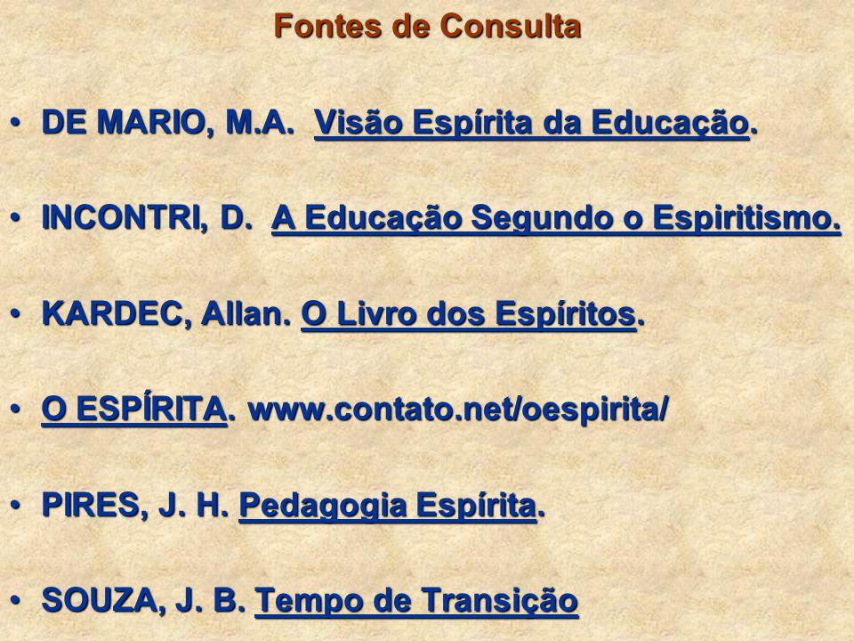 Fontes de Consulta DE MARIO, M.A. Visão Espírita da Educação. INCONTRI, D. A Educação Segundo o Espiritismo.