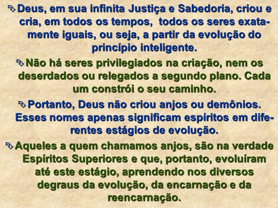 Deus, em sua infinita Justiça e Sabedoria, criou e cria, em todos os tempos, todos os seres exata-mente iguais, ou seja, a partir da evolução do princípio inteligente.