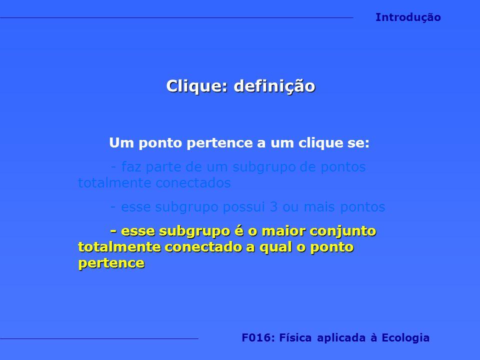 Um ponto pertence a um clique se: F016: Física aplicada à Ecologia
