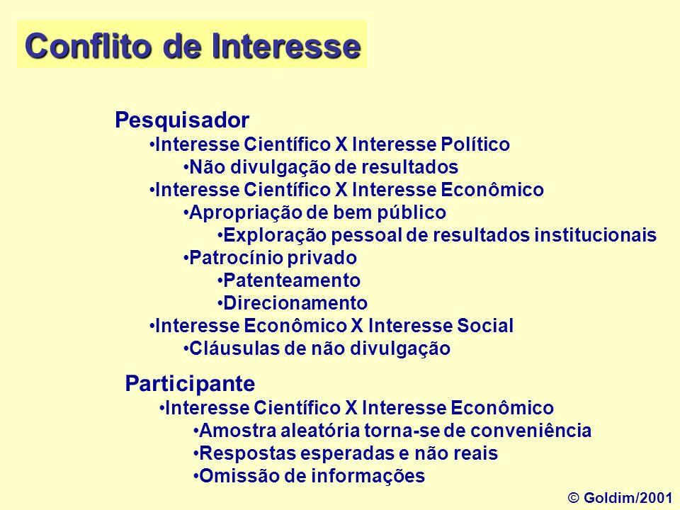Conflito de Interesse Pesquisador Participante