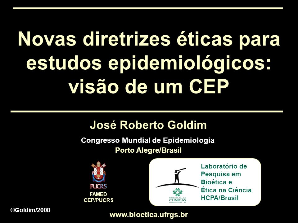Congresso Mundial de Epidemiologia Porto Alegre/Brasil
