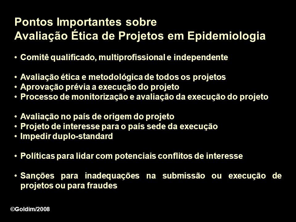Pontos Importantes sobre Avaliação Ética de Projetos em Epidemiologia