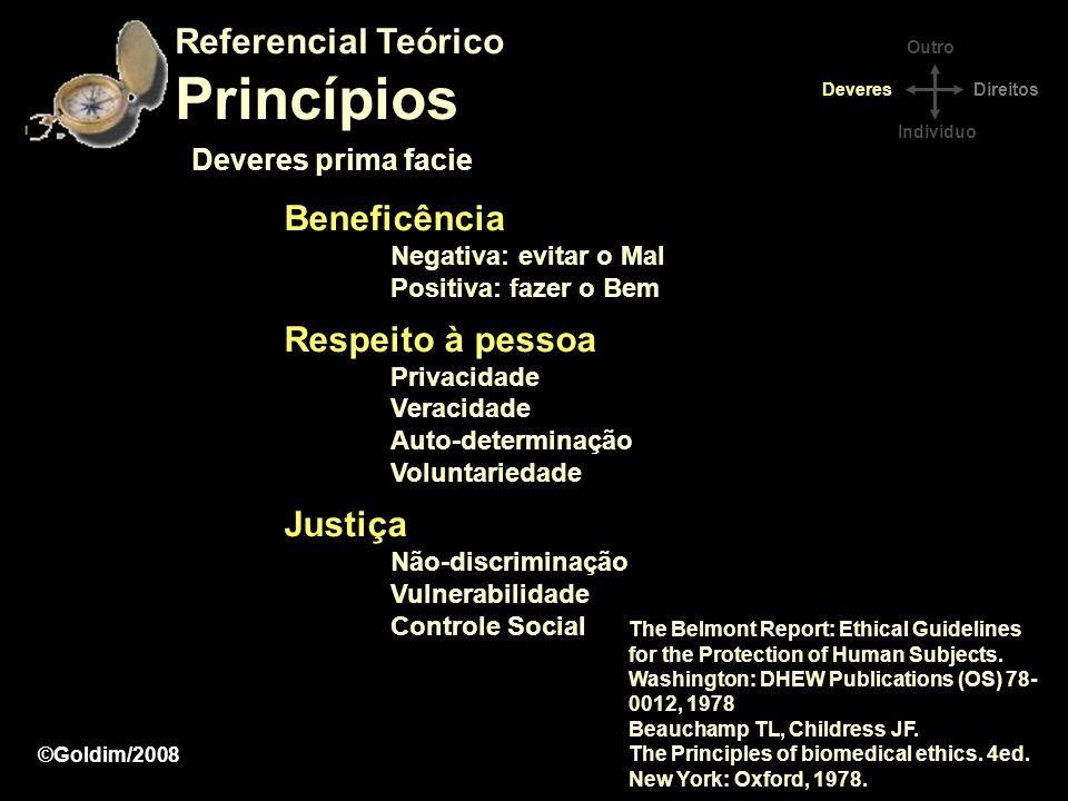 Princípios Referencial Teórico Beneficência Respeito à pessoa Justiça