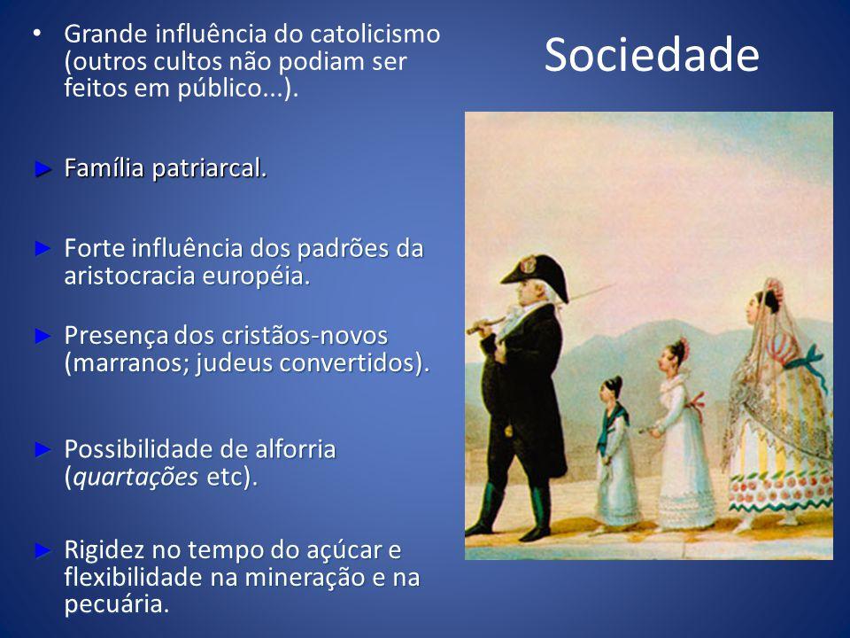 Sociedade Grande influência do catolicismo (outros cultos não podiam ser feitos em público...). Família patriarcal.