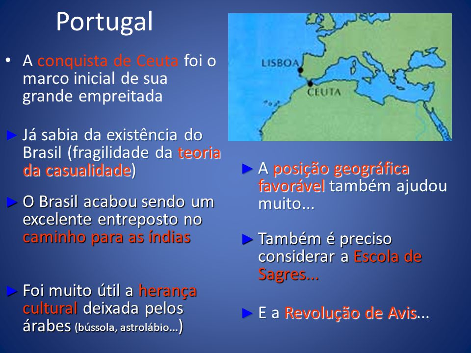 Portugal A conquista de Ceuta foi o marco inicial de sua grande empreitada. Já sabia da existência do Brasil (fragilidade da teoria da casualidade)