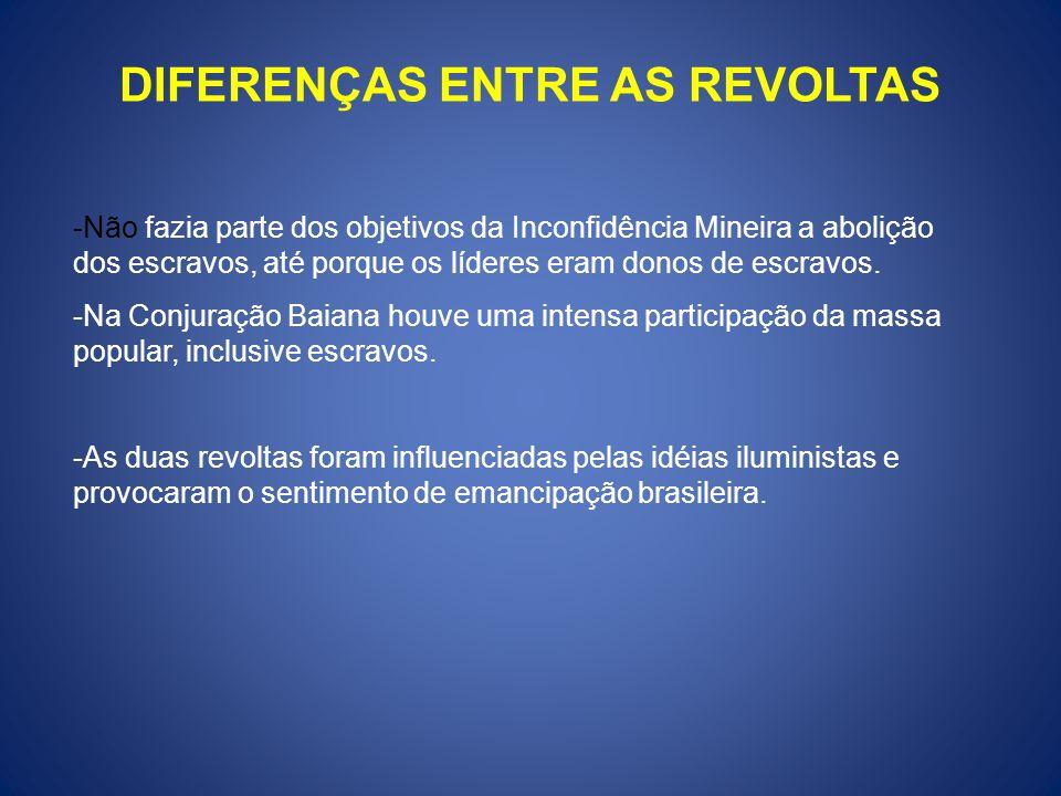 DIFERENÇAS ENTRE AS REVOLTAS