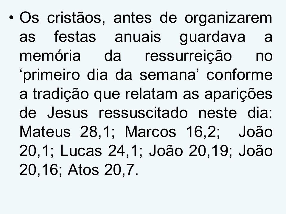 Os cristãos, antes de organizarem as festas anuais guardava a memória da ressurreição no 'primeiro dia da semana' conforme a tradição que relatam as aparições de Jesus ressuscitado neste dia: Mateus 28,1; Marcos 16,2; João 20,1; Lucas 24,1; João 20,19; João 20,16; Atos 20,7.