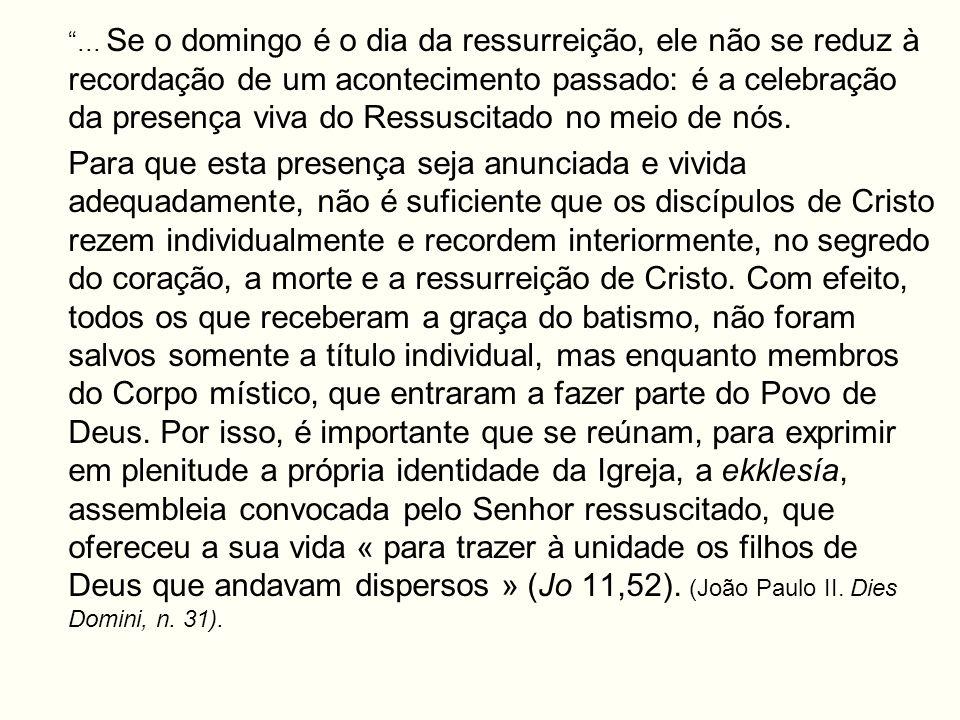 ... Se o domingo é o dia da ressurreição, ele não se reduz à recordação de um acontecimento passado: é a celebração da presença viva do Ressuscitado no meio de nós.