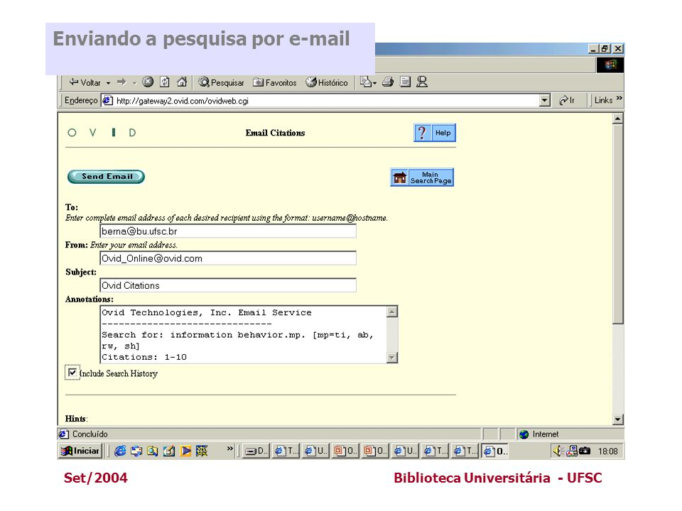 Enviando a pesquisa por e-mail