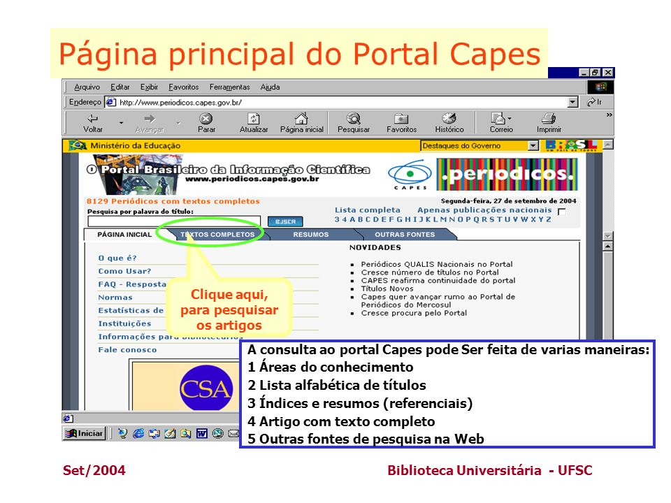 Página principal do Portal Capes