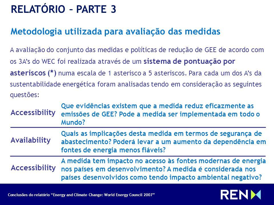 RELATÓRIO – PARTE 3 Metodologia utilizada para avaliação das medidas