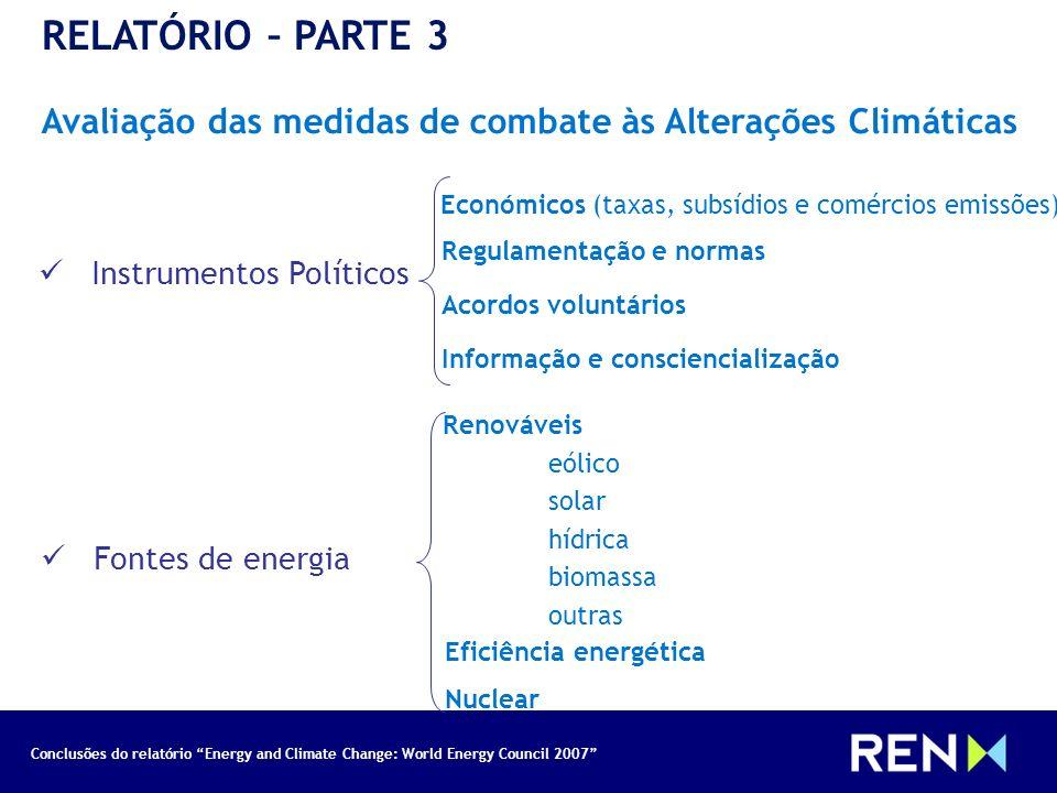 RELATÓRIO – PARTE 3 23/03/2017. Avaliação das medidas de combate às Alterações Climáticas. Económicos (taxas, subsídios e comércios emissões)