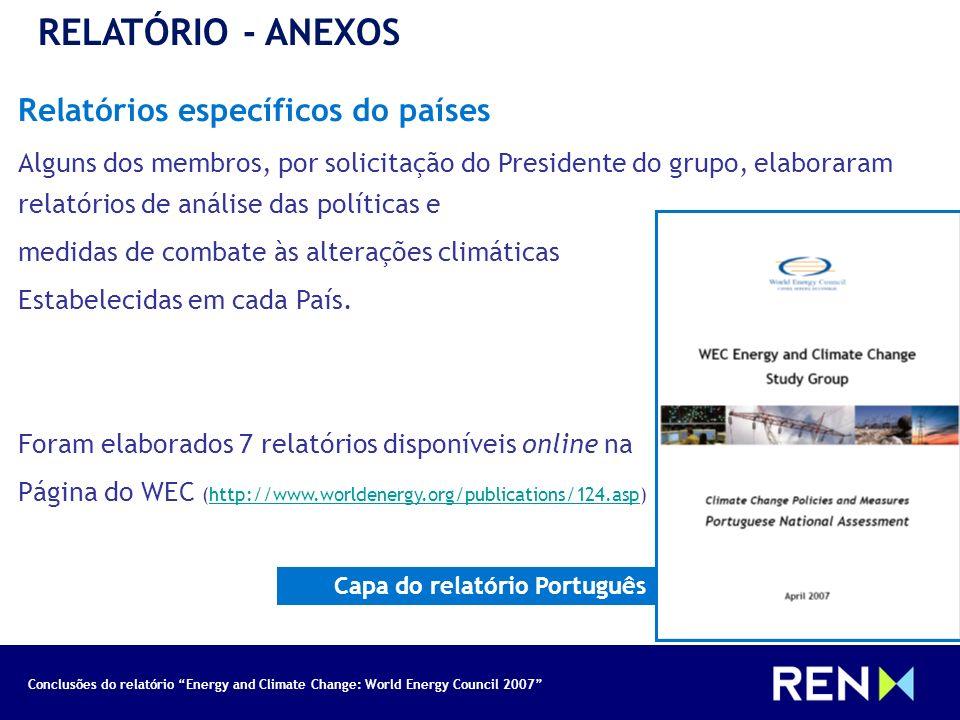 RELATÓRIO - ANEXOS Relatórios específicos do países