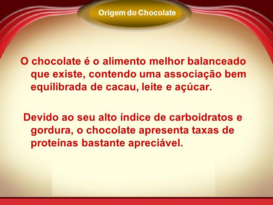 Origem do Chocolate O chocolate é o alimento melhor balanceado que existe, contendo uma associação bem equilibrada de cacau, leite e açúcar.
