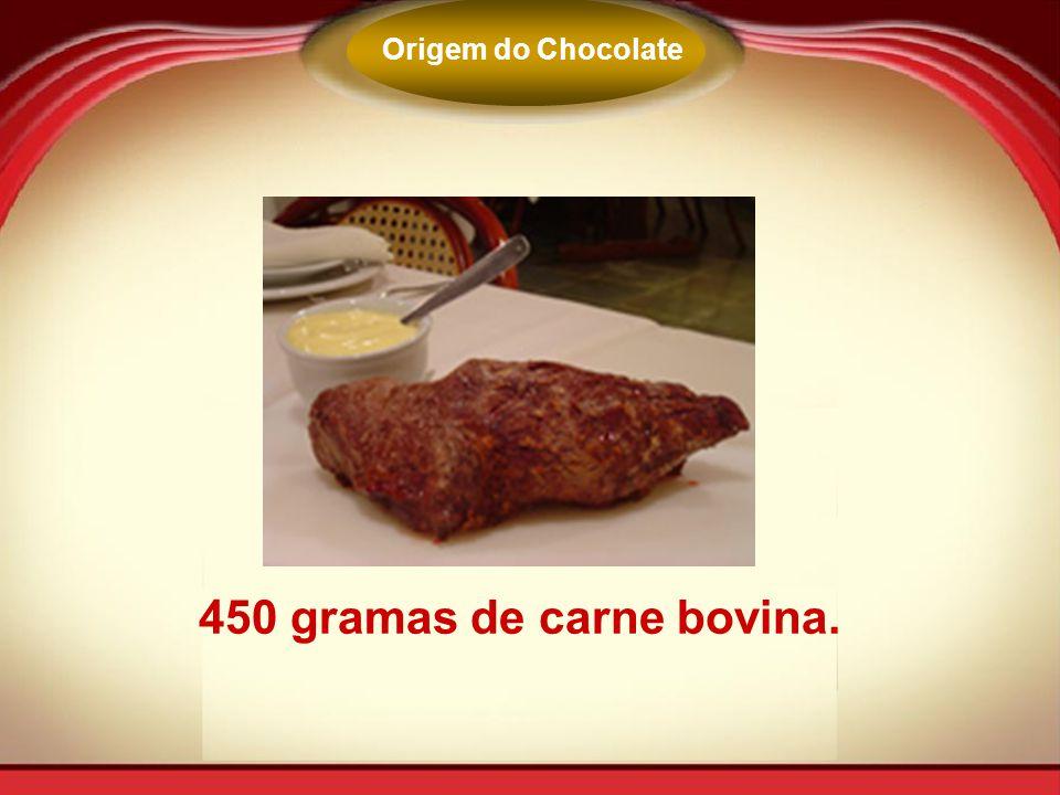 Origem do Chocolate 450 gramas de carne bovina.