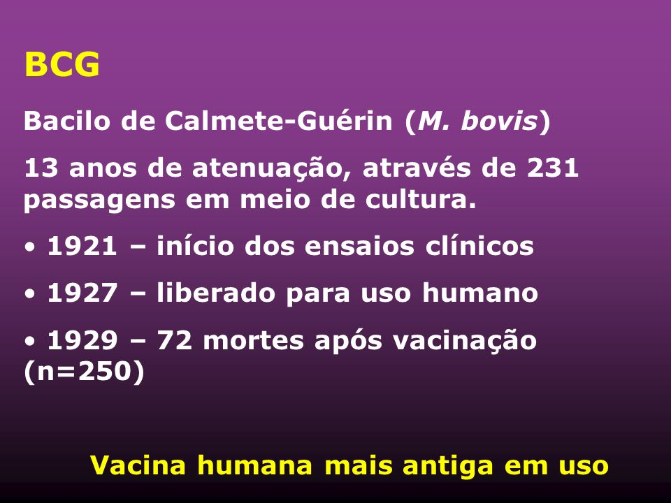 BCG Bacilo de Calmete-Guérin (M. bovis)