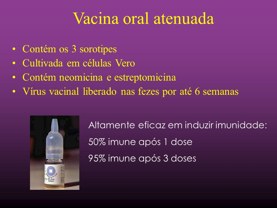 Vacina oral atenuada Contém os 3 sorotipes Cultivada em células Vero