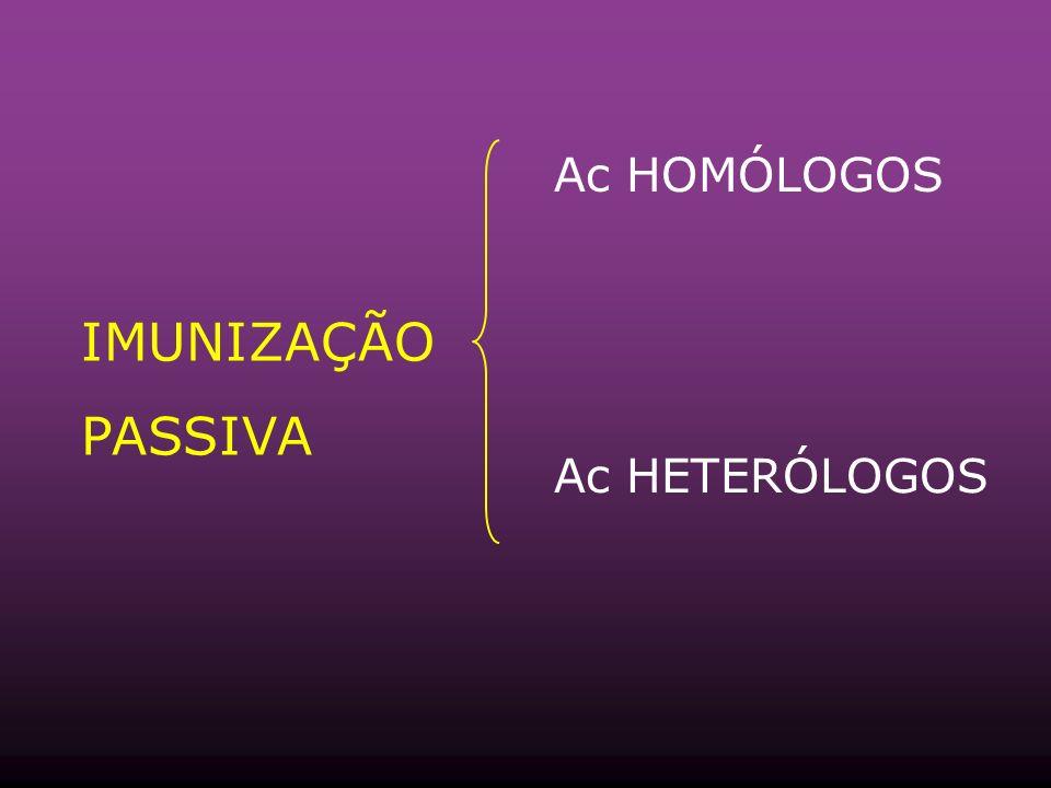 Ac HOMÓLOGOS IMUNIZAÇÃO PASSIVA Ac HETERÓLOGOS
