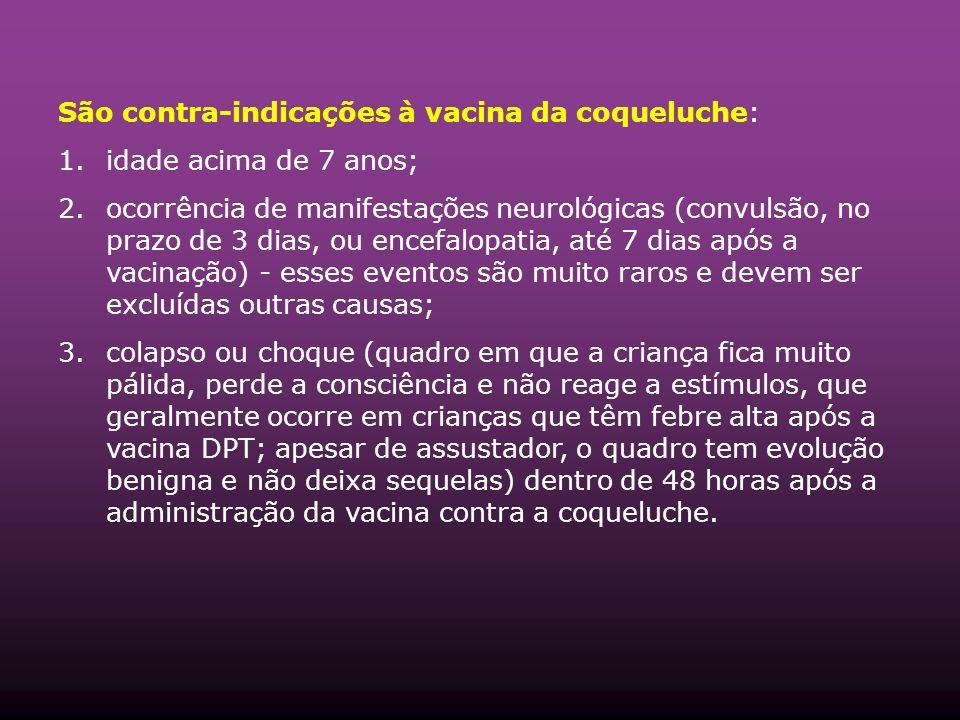 São contra-indicações à vacina da coqueluche: