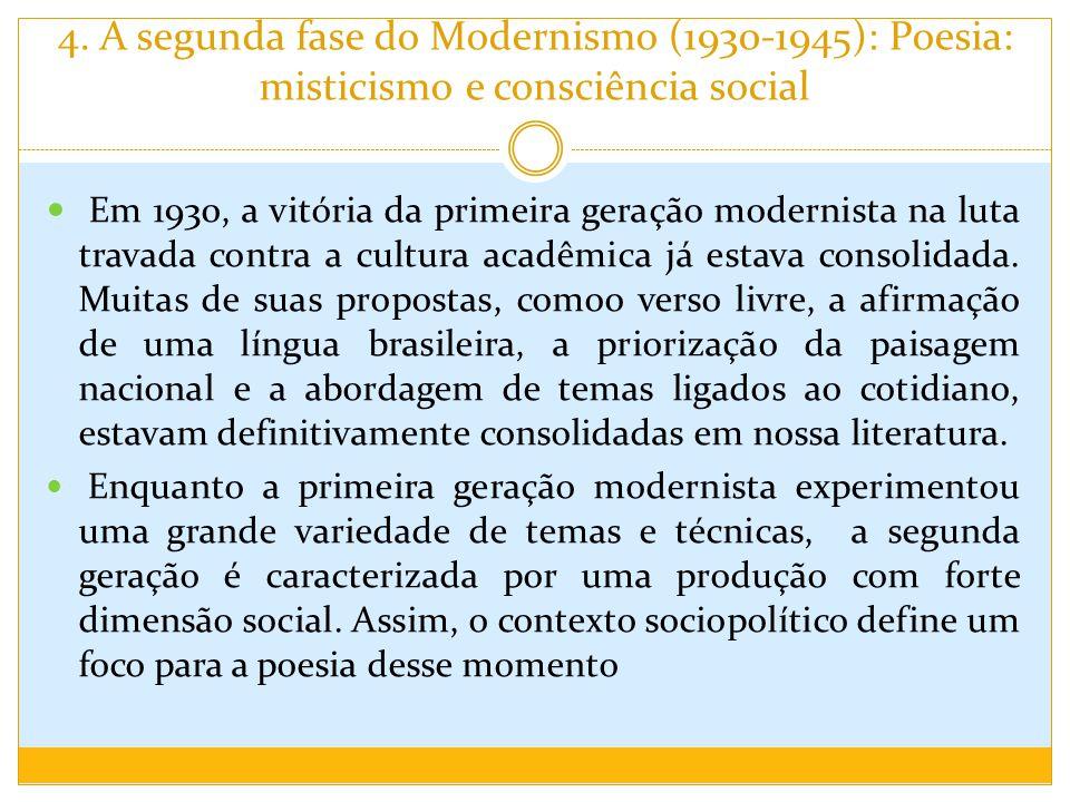 4. A segunda fase do Modernismo (1930-1945): Poesia: misticismo e consciência social