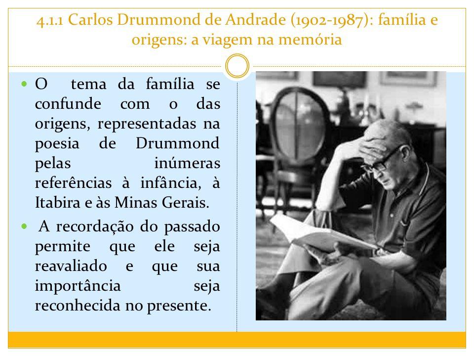 4.1.1 Carlos Drummond de Andrade (1902-1987): família e origens: a viagem na memória