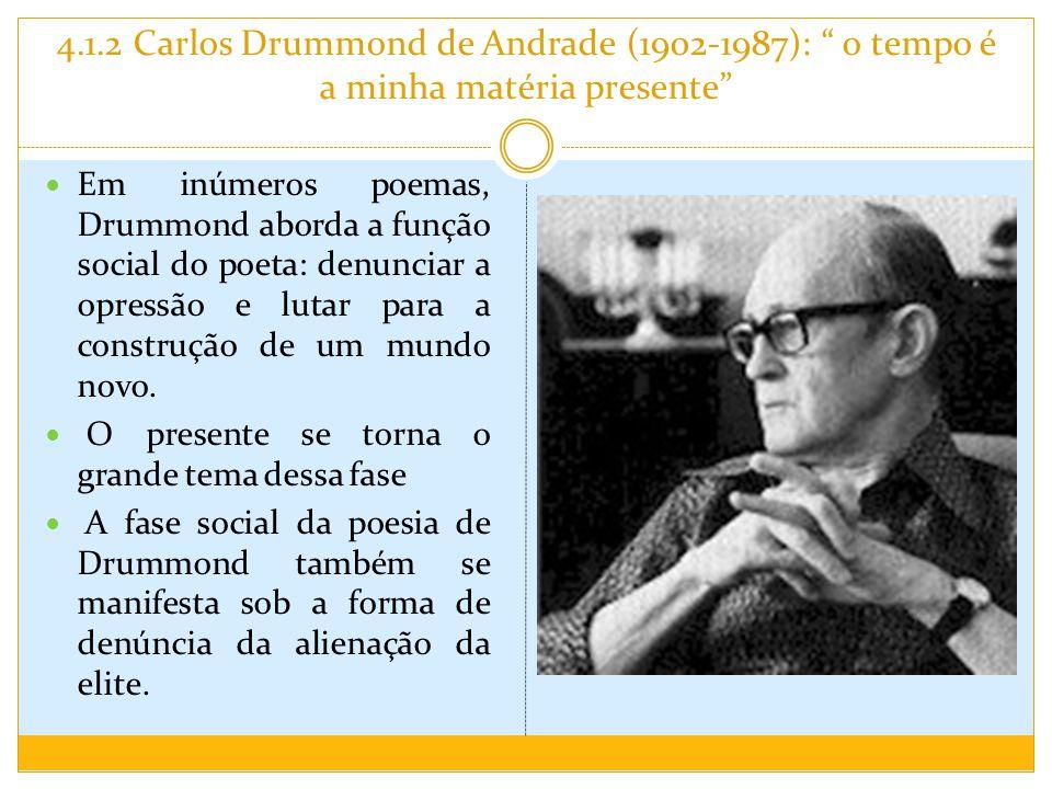 4.1.2 Carlos Drummond de Andrade (1902-1987): o tempo é a minha matéria presente