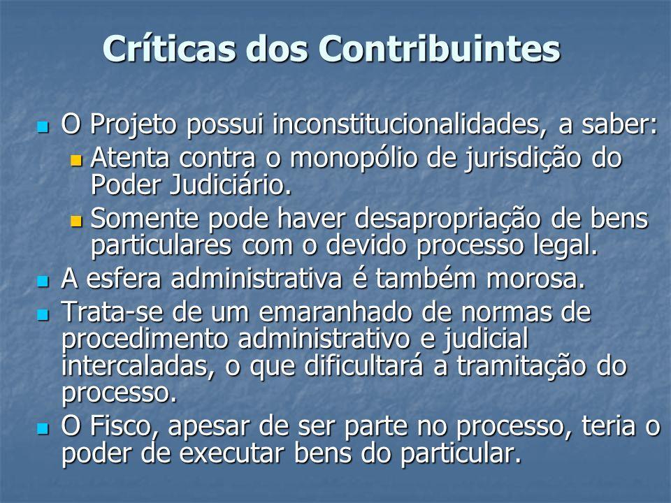 Críticas dos Contribuintes