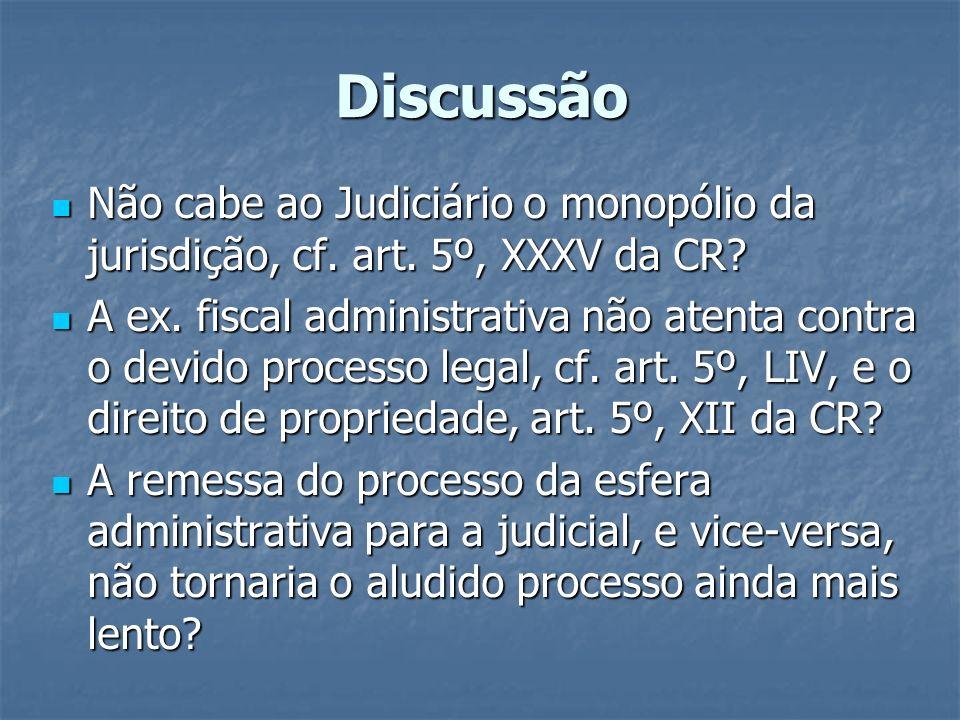 Discussão Não cabe ao Judiciário o monopólio da jurisdição, cf. art. 5º, XXXV da CR