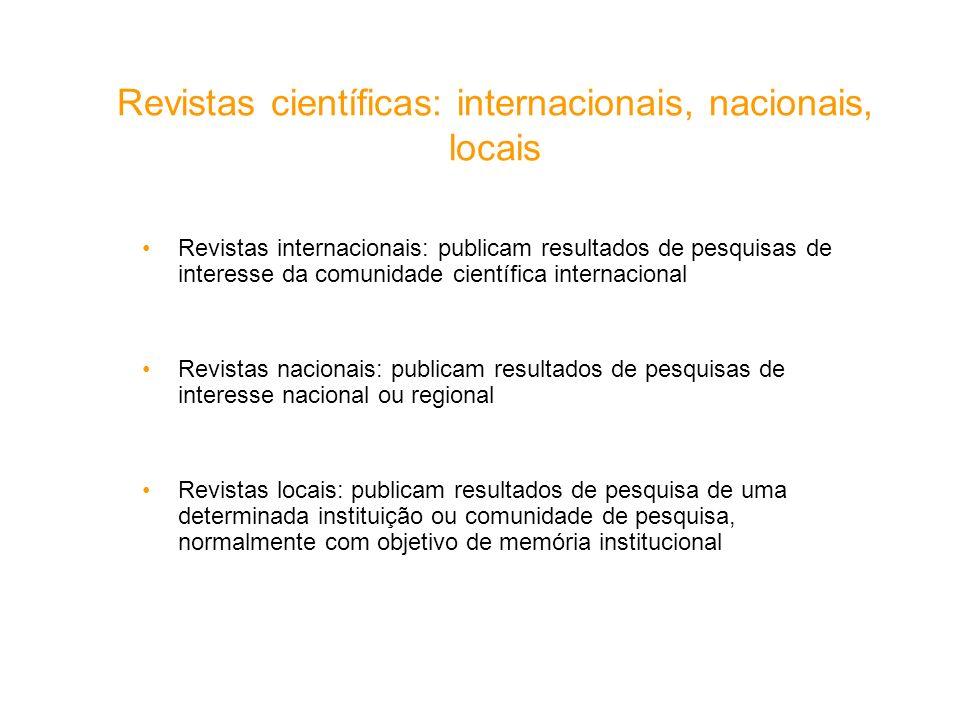 Revistas científicas: internacionais, nacionais, locais