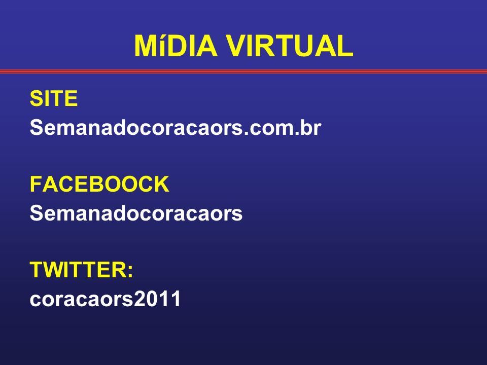MíDIA VIRTUAL SITE Semanadocoracaors.com.br FACEBOOCK