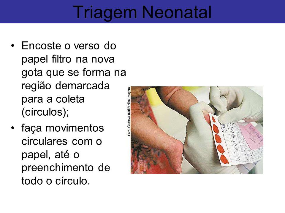 Triagem Neonatal Encoste o verso do papel filtro na nova gota que se forma na região demarcada para a coleta (círculos);