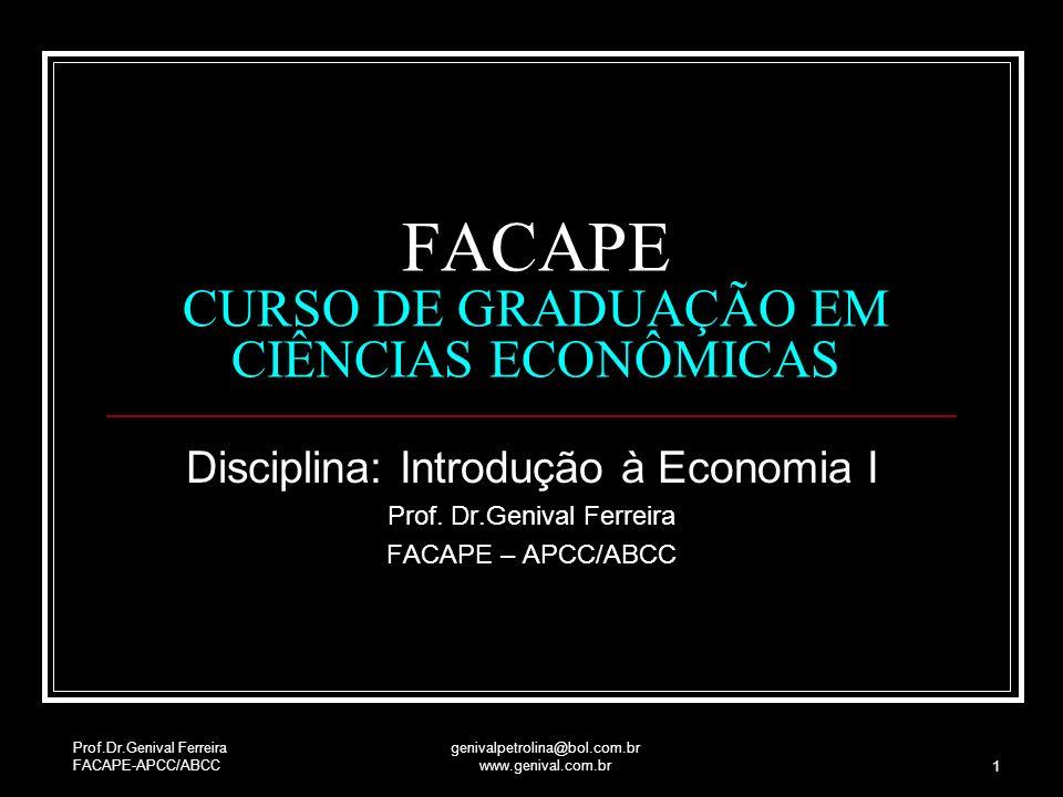 FACAPE CURSO DE GRADUAÇÃO EM CIÊNCIAS ECONÔMICAS