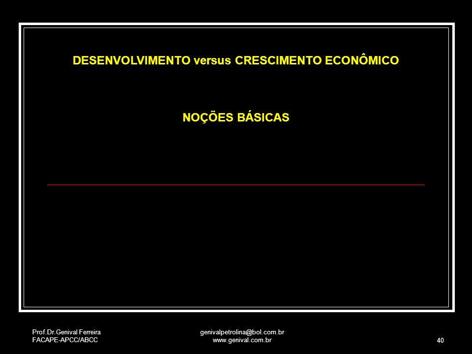 DESENVOLVIMENTO versus CRESCIMENTO ECONÔMICO