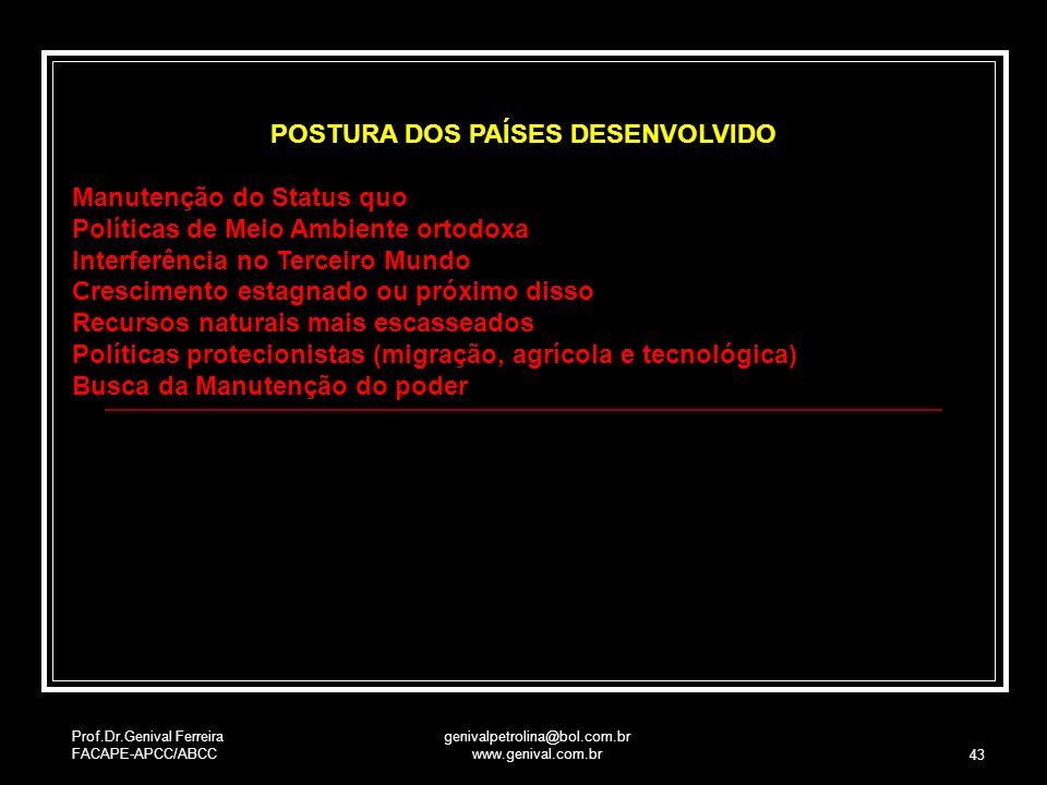 POSTURA DOS PAÍSES DESENVOLVIDO