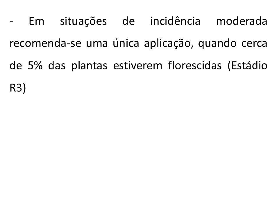 Em situações de incidência moderada recomenda-se uma única aplicação, quando cerca de 5% das plantas estiverem florescidas (Estádio R3)