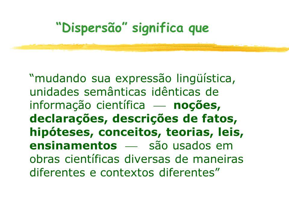 Dispersão significa que