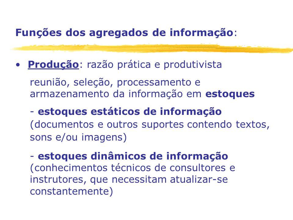 Funções dos agregados de informação: