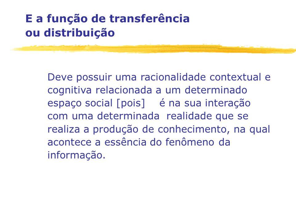 E a função de transferência ou distribuição