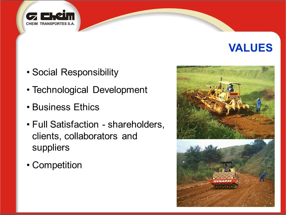 VALUES Social Responsibility Technological Development Business Ethics