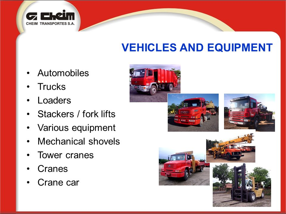 VEHICLES AND EQUIPMENT