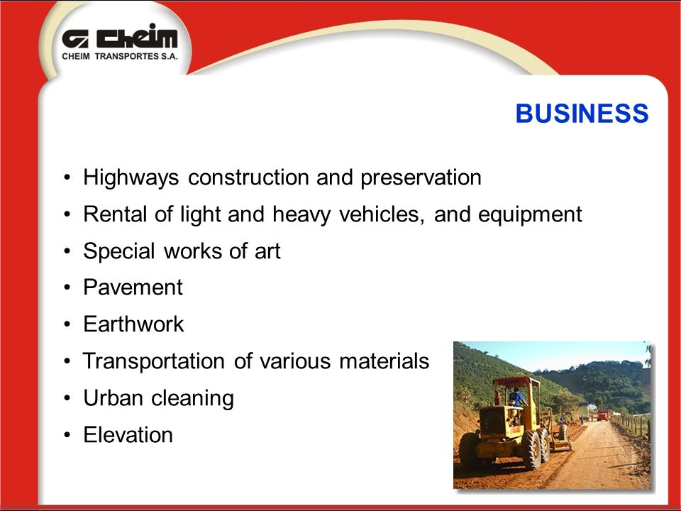 BUSINESS Highways construction and preservation