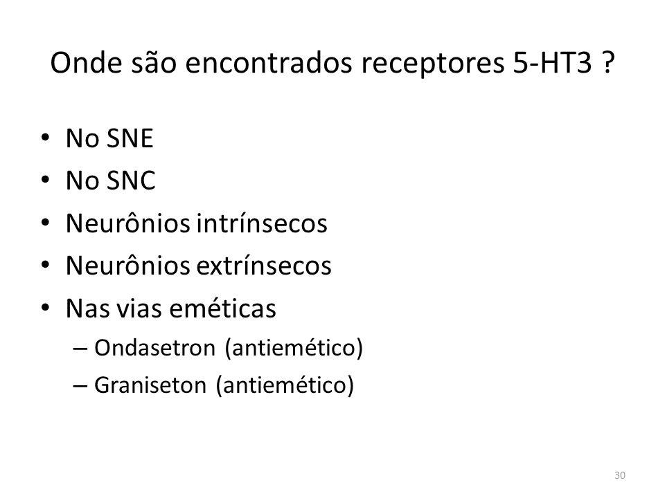 Onde são encontrados receptores 5-HT3