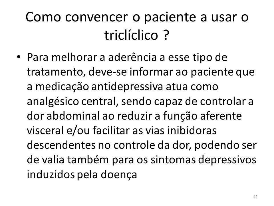 Como convencer o paciente a usar o triclíclico